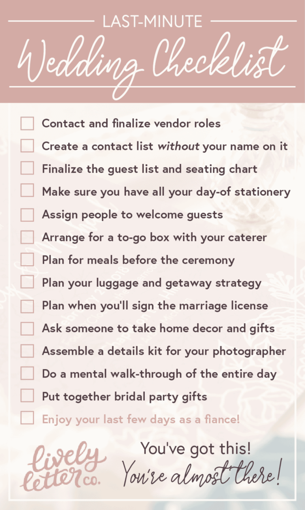 Last Minute Wedding Checklist Stationery Wedding Invitations Lively Letter Co
